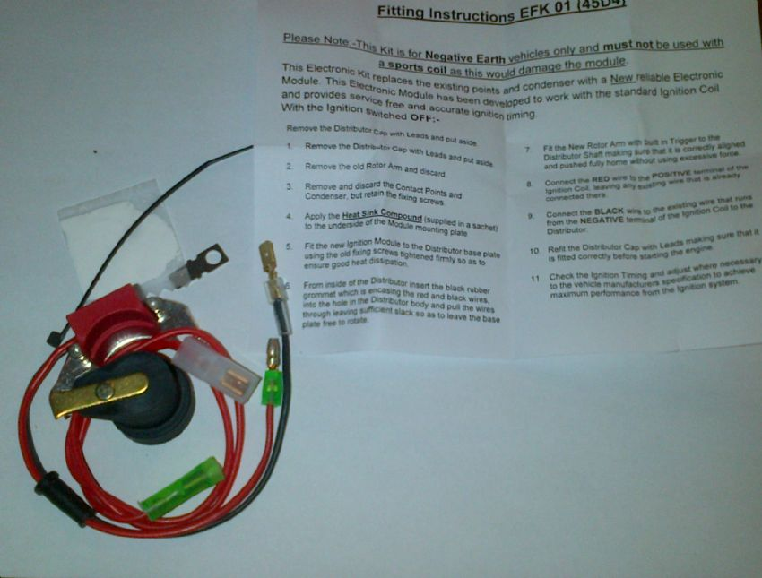 Triumph Spitfire 1500 Electronic Ignition Kit - Lucas Distributor 45D
